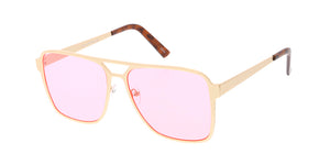 4722COL Unisex Metal Large Square Aviator w/ Color Lens