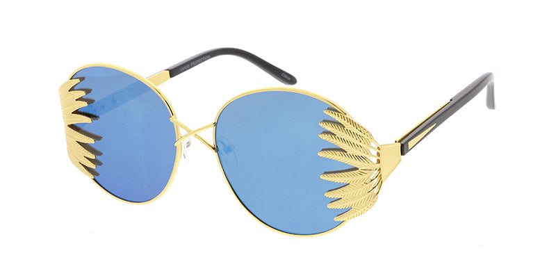 4728RV Women's Metal Large Round Feathered Frame w/ Color Mirror Lens