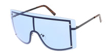4730COL Unisex Metal Oversized Rectangular Rimless Shield Frame w/ Color Lens