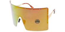 4736RV Unisex Metal XXL Oversized Studded Square Shield w/ Color Mirror Lens