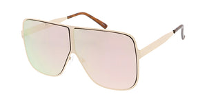 4751RV Unisex Metal Oversized Round Square Flat Frame w/ Color Mirror Lens