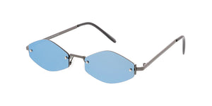 4759RV Unisex Metal Small Rimless Diamond Frame w/ Color Mirror Lens