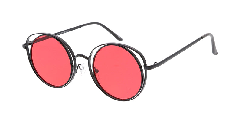 4763COL Women's Metal Medium Double Wire Round Frame w/ Color Lens