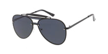 4766 Unisex Metal Large Shield Aviator w/ Brow Bar