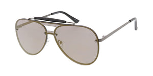 4767RV Unisex Metal Large Aviator Shield w/ Color Mirror Lens