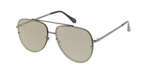 4773RV Unisex Metal Large Rimless Aviator w/ Color Mirror Lens