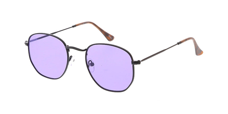 4795COL Unisex Classic Metal Rounded Square Small Hipster Frame w/ Color Lens