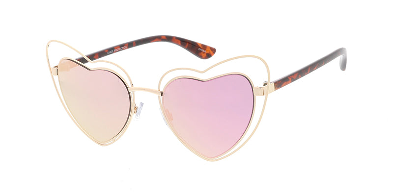 4796RV Women's Metal Large Double Wire Heart Frame w/ Color Mirror Lens