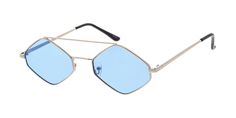 4821COL Unisex Metal Small Hexagonal Wire Frame w/ Color Lens