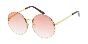 4841 Women's Metal Medium Rimless Studded Circle Frame