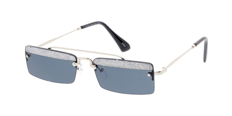 4842GLT Women's Metal Medium Square Rimless Top Brow Glitter Frame