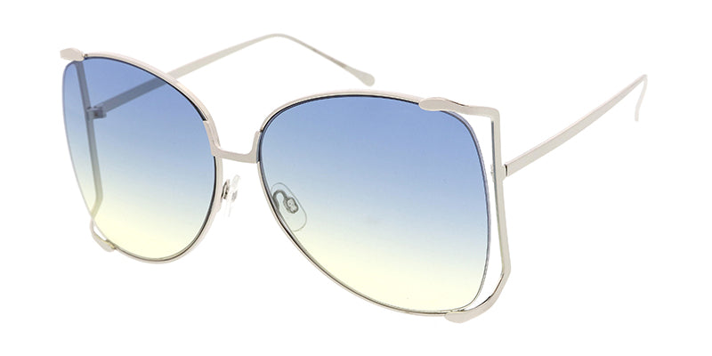 4848COL Women's Metal Oversized Open Temple Frame w/ Two Tone Lens