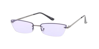 4850COL Women's Metal Small Rimless Cat Eye Frame w/ Color Lens