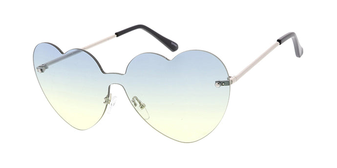 4878 Women's Metal Large Heart Shaped Shield Rimless Frame