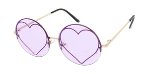 4880HRT/GLT Women's Metal Medium Round Glitter Heart Rimless Frame
