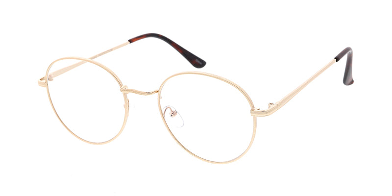 SS4890BLF/CLR Unisex Metal Medium Classic Round Hipster Blue Light Filtering Computer Glasses (Single Color)