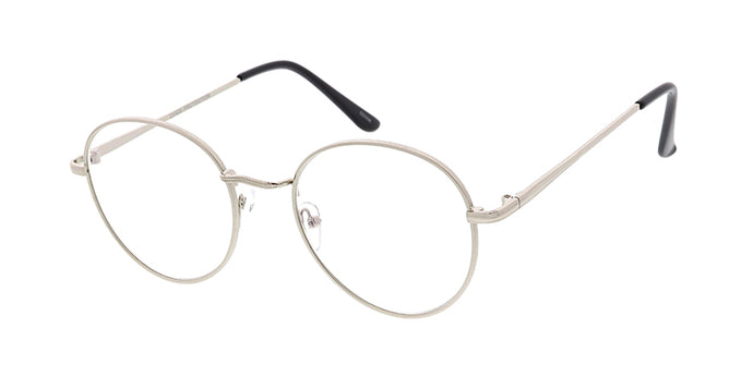 SS4890BLF/CLR-SILVER Unisex Metal Medium Classic Round Hipster Blue Light Filtering Computer Glasses (Single Color)
