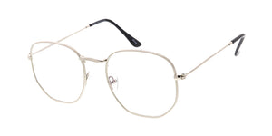 4891BLF/CLR Unisex Metal Medium Classic Rounded Square Hipster Blue Light Filtering Clear Lens Computer Glasses