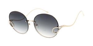 4897RH Women's Metal Large Round Frame w/ Rimless Lenses and Rhinestone Accents