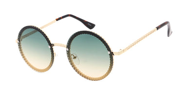 4919COL Women's Metal Medium Chain Link Round Frame w/ Two Tone Lens