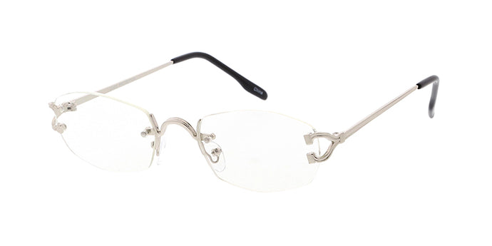 4922CLR Unisex Metal Small Rimless Vintage Inspired Frame w/ Clear Lens