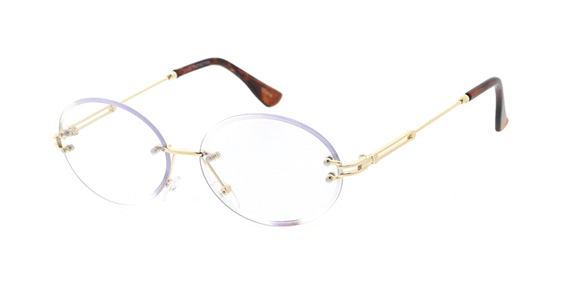 4926CLR Unisex Metal Small Rimless Vintage Inspired Diamond Cut Frame w/ Clear Lens