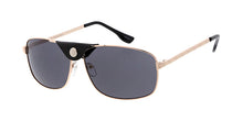 4935 Men's Metal Casual Medium Rectangular Aviator Frame w/ Faux Leather Bridge