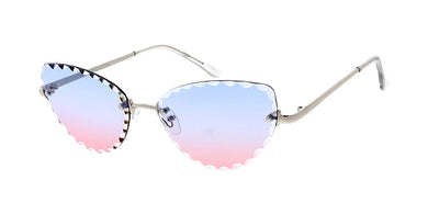 4948 Women's Metal Small Rimless Scalloped Cat Eye Frame
