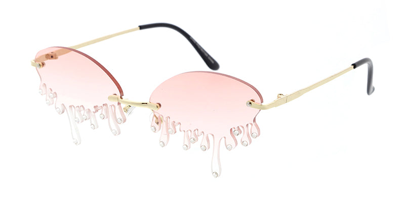 4966RH Women's Metal Small Oval Dripping Rimless Novelty Frame w/ Rhinestones