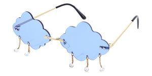 4967 Women's Metal Small Rain Cloud Rimless Novelty Frame w/ Rhinestones