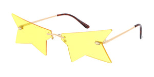 4976 Unisex Metal Medium Rimless Semi Star Novelty Lens