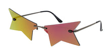 4977RV Unisex Metal Large Rimless Cut Off Star Novelty Frame w/ Color Mirror Lens