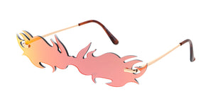 4983RV Unisex Metal Small Rimless Flame Shield Novelty Frame w/ Color Mirror Lens