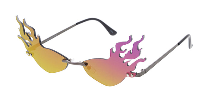 4992RV Unisex Metal Small Flaming Lens Novelty Frame w/ Color Mirror Lens