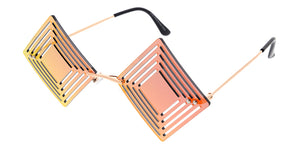 4996RV Unisex Metal Medium Diamond Cut Out Rimless Novelty Frame w/ Color Mirror Lens