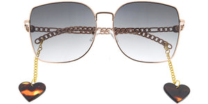 5005 Women's Metal Large Square Frame w/ Dangling Heart Accent