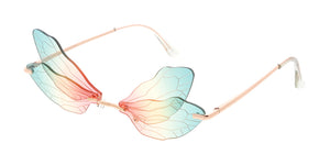 5013 Women's Metal Small Double Dragonfly Wings Lens Novelty Frame