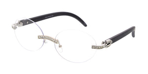 5017RH/CLR Unisex Metal Small Rimless Oval Rhinestone Frame w/ Woodgrain Print Temples and Clear Lens