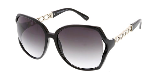 6126 Women's Plastic Oversized Frame w/ Chain Temple Accent