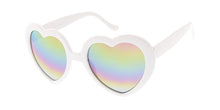 6219RV Women's Plastic Large Heart Frame w/ Rainbow Mirror Lens
