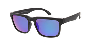 6232SFT/RV Men's Plastic Casual Square Soft Rubberized Finish Frame w/ Color Mirror Lens