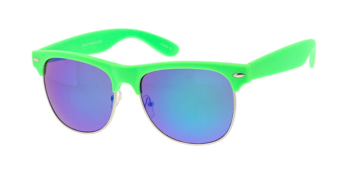 6271SFT/RV Unisex Combo Medium Clubber Rubberized Neon Frame w/ Color Mirror Lens
