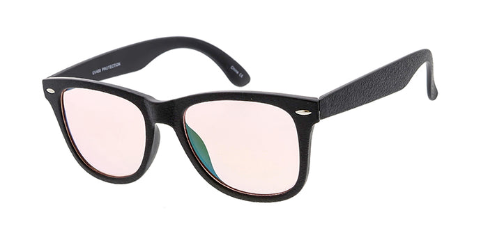 6273MT/RV Unisex Plastic Standard WF Leather-Texture Frame w/ Color Mirror Lens