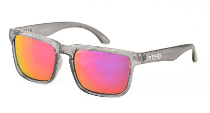6327KSH/RV KUSH Plastic Crystal Smoke Frame w/ Color Mirror Lens