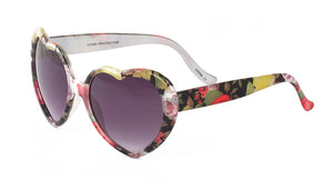 6527HRT/FLR Women's Plastic Medium Heart Shaped Floral Print Frame