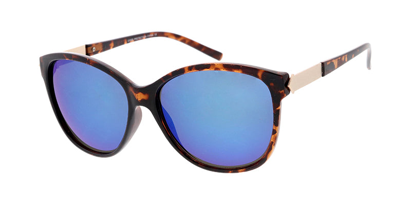 6646RV Women's Plastic Medium Designer Inspired Frame w/ Metal Accents and Color Mirror Lens