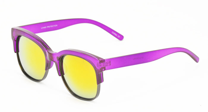 6732CRY/RV Women's Combo Medium Rectangular Clubber Crystal Color Frame w/ Color Mirror Lens