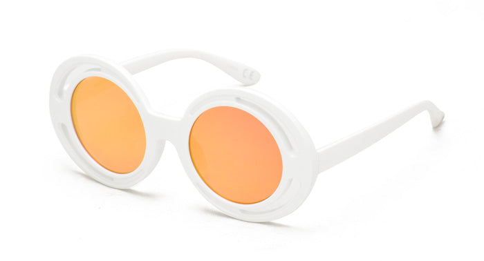6993RV Women's Plastic Medium Double Rim Round Vintage Inspired Frame w/ Color Mirror Lens