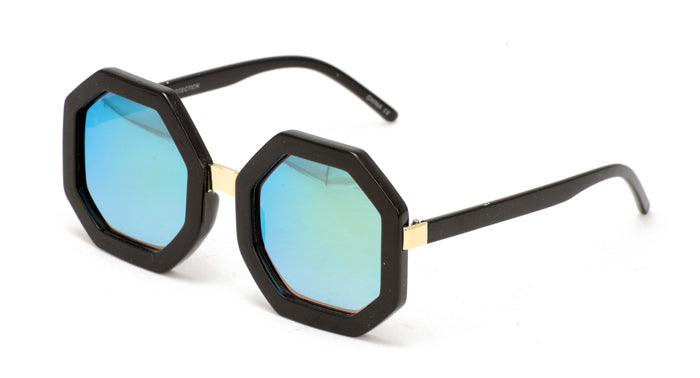 7032RV Women's Large Plastic Octagon Frame w/ Color Mirror Lens