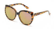 7055RV Women's Plastic Large Cat Eye Frame w/ Metal Accents and Color Mirror Lens